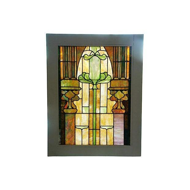 Antique Architectural Stained Leaded Glass Window - Image 4 of 5