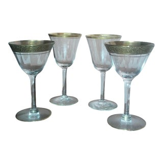 Mid-Century Gold Trimmed Cordials - Set of 4