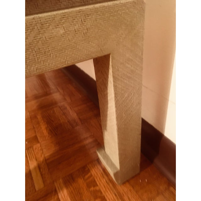 Baker Greige Grasscloth Wrapped Coffee Table With Chow Feet - Image 3 of 7