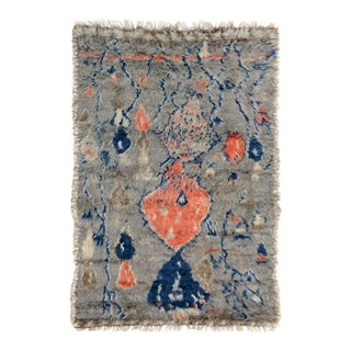 "Moroccan Arya Brendon Gray & Blue Wool Rug - 4'8"" x 6'9"""