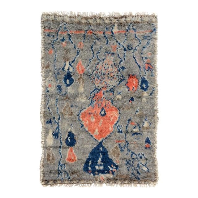 "Moroccan Arya Brendon Gray & Blue Wool Rug - 4'8"" x 6'9"" - Image 1 of 8"
