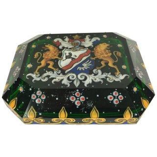 Green Armorial Enameled Paperweight