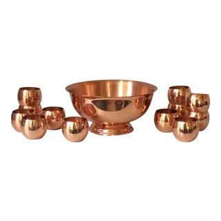 Copper Punch Bowl Set - Set of 13