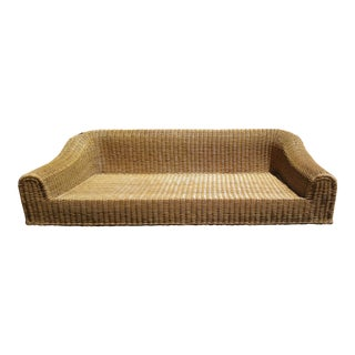 Sculptural Modern Classic Wicker Rattan Sofa with Feather/ Down Cushions