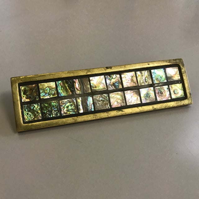 Mid-Century Brass & Abalone Door Pull - Image 8 of 9