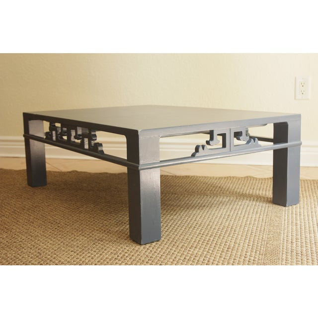 Chinoiserie Navy Blue Wood Carved Low Coffee Table - Image 2 of 8