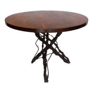 Custom Walnut Wood Side Table With Custom Hand Forged Vine Base