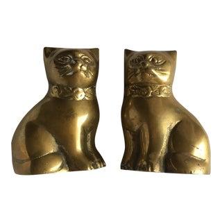 Brass Cat Figurines - A Pair