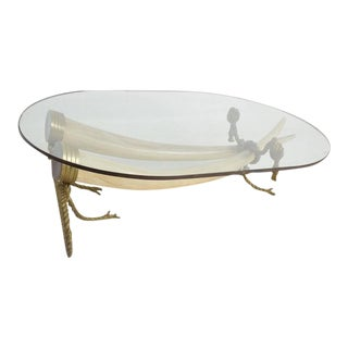 Hollywood Regency Coffee Table Faux Ivory & Bronze by Valenti
