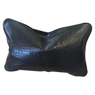 Williams Sonoma Crocodile Leather & Suede Pillow