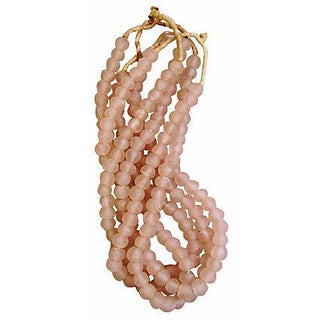 Blush Pink Chablis Glass Bead Strands - Set of 4