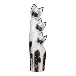 African Carved Cat Statue