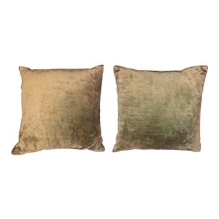 Mid-Century Crushed Velvet Chartreuse Green Pillows - A Pair