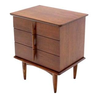 Walnut Three Drawer Nightstand Chest Solid Walnut Carved Pulls