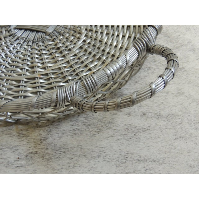 Vintage Large Silver Flat Wire Basket With Handles - Image 3 of 4