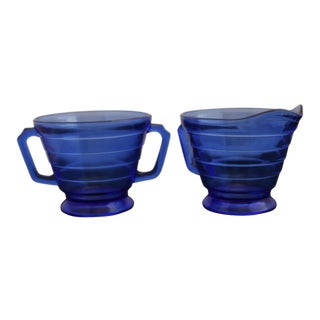 Vintage Cobalt Blue Depression Glass Moderntone Sugar and Creamer