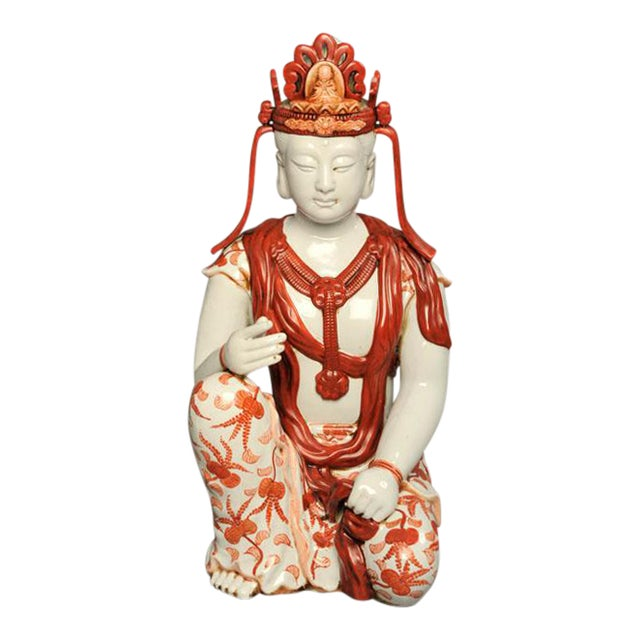 Image of Japanese Hand-Painted Porcelain Bodhisattva Sculpture