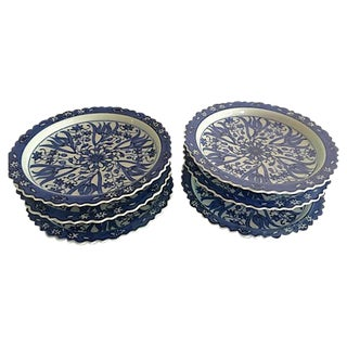 Blue & White Bread Plates - Set of 6
