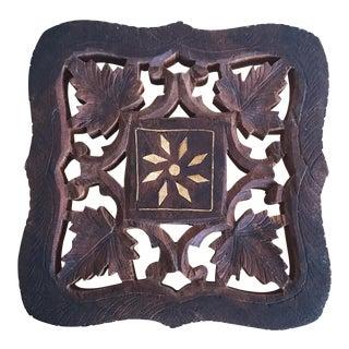 Vintage Wooden Carved Trivet