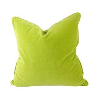 Citron Green Italian Velvet Pillows - A Pair