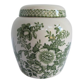 English Mason's Green Flower Ironstone Ginger Jar