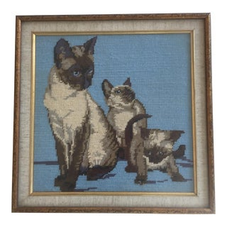 Vintage Siamese Cat Needlepoint