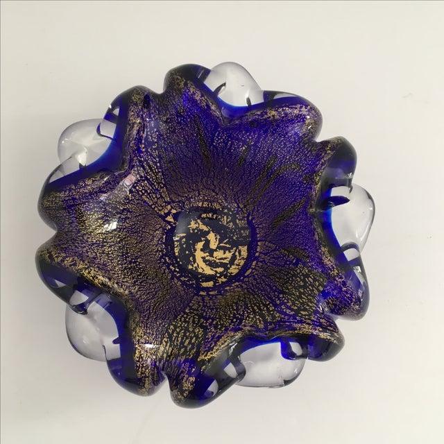 Murano Cobalt Blue Art Glass Bowl - Image 3 of 6
