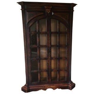 Traditional Wooden Armoire with Beveled Glass