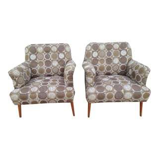 Mid Century Upholstered Club Chairs - a Pair