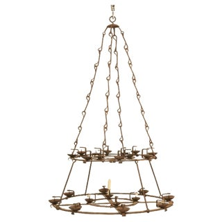 French Hand-Forged Iron Twenty-Four-Light Two-Tier Chandelier, circa 1890