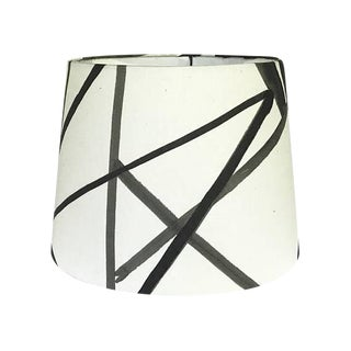 New, Made to Order, Medium Drum Lamp Shade, Kelly Werstler Channels Fabric Ebony & Ivory