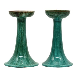 Vintage Blue Mountain Pottery Candlesticks - a Pair