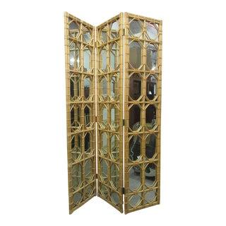 1960s 3 Panel Rattan & Mirror Floor Screen Room Divider