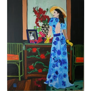 Woman in a Blue Dress Oil Painting