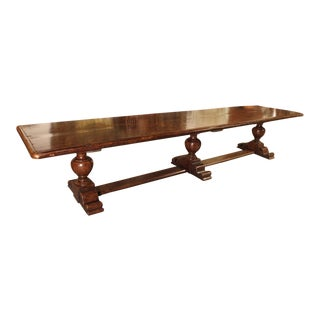 14' Long Walnut Wood Dining Table from Italy