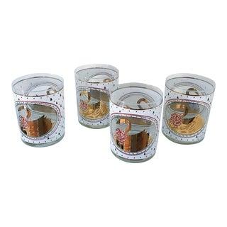 Vintage Culver 22k Gold Swan Christmas Drinking Glasses - Set of 4