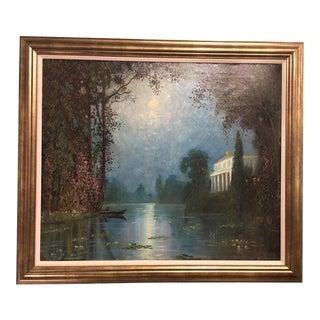 """""""Italian Villa in Moonlight"""" Oil on Canvas Painting"""