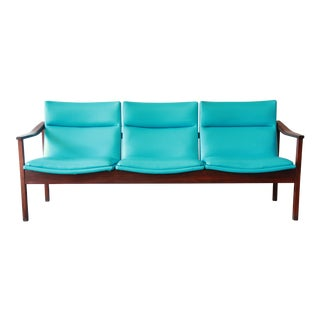 Mid Century Danish Modern Style Walnut Three-Seat Sofa with Teal Upholstery