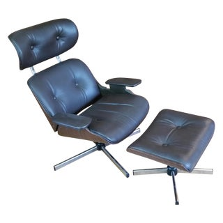 Mid-Century Leather Lounge Chair & Ottoman