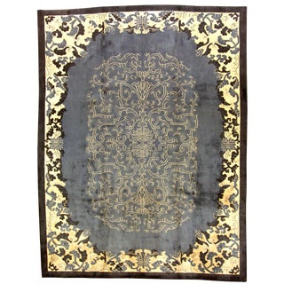 1920s Antique Chinese Art Deco Hand Made Rug- 8′10″ × 11′9″
