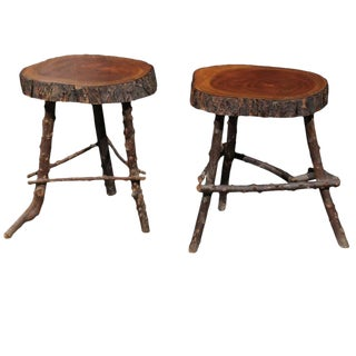 Pair of French Rustic Twig Stools with Round Wooden Top, Mid-20th Century