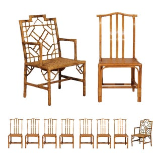 Elegant Set of Ten Restored Vintage Rattan Dining Chairs