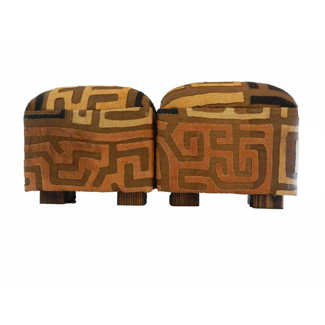 Upholstered Kuba Ottomans - a Pair - Image 4 of 6