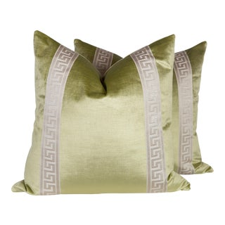Transitional Citrine Velvet Greek Key Pillows - A Pair
