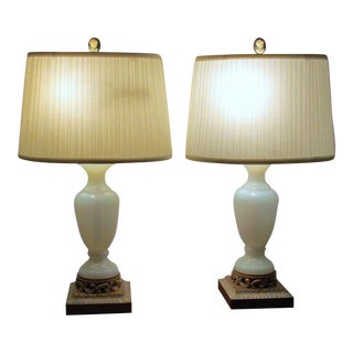 Vintage Opaque White Glass Table Lamps - A Pair