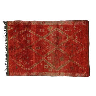 "Vintage Berber Moroccan Red Rug - 5'9"" x 8'4"""