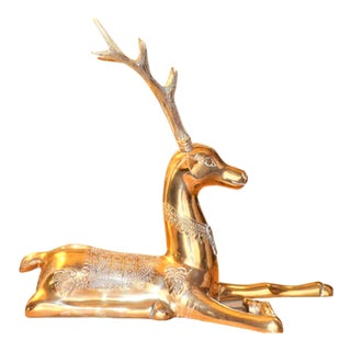Large Mid-Century Resting Brass Deer Attributed To: Sarreid
