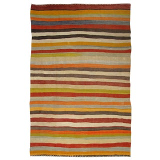 Vintage Colorful Stripe Turkish Kilim - 6' x 9'5""