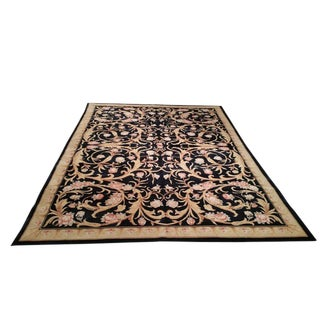 French Savonnerie Design Handmade Knotted Rug - 8′ × 11′3″