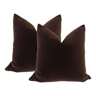 "20"" Chocolate Velvet Pillows - a Pair"
